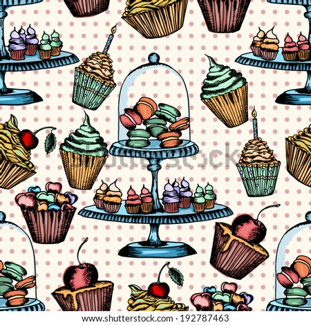 cake seamless pattern can be used for wallpaper, website background, textile printing - stock vector