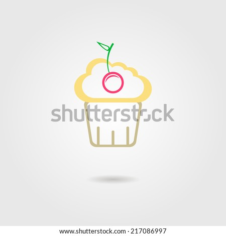 cake with cherry icon. vector illustration - stock vector