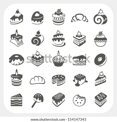 Cakes and dessert icons set - stock vector