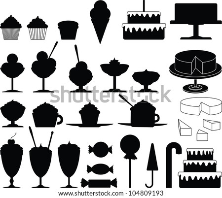 Cakes, sweets, candies and ice cream vector collection - stock vector