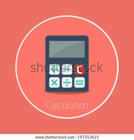 Calculation : Vector calculator icon flat design - stock vector