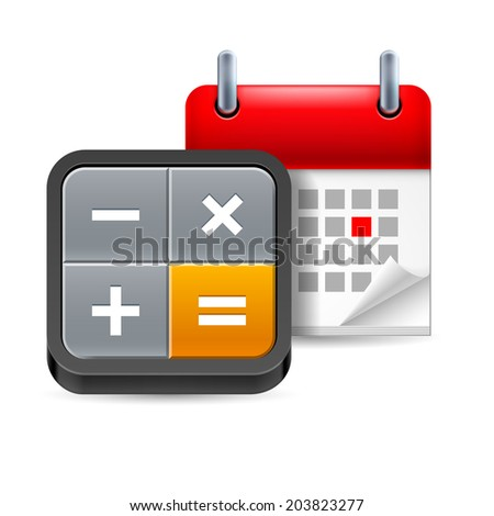 Calculator and calendar with marked day on white background - stock vector