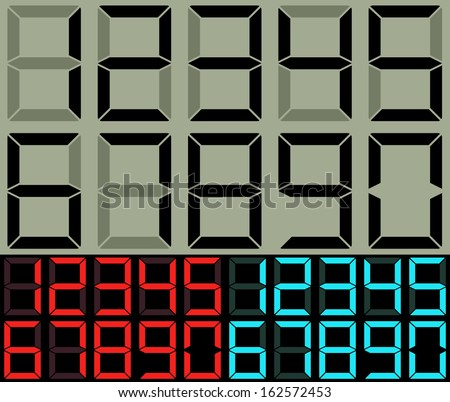 Calculator and table clock digits vector template. - stock vector