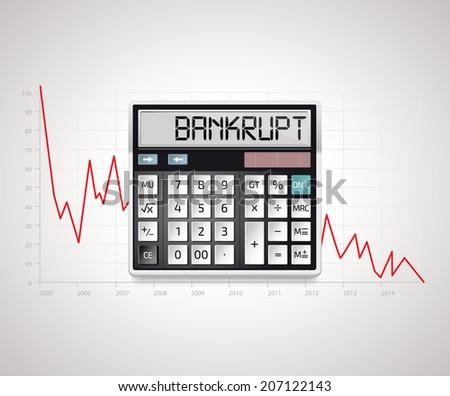 Calculator - bankruptcy  - stock vector