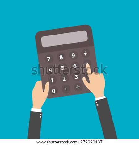 calculator business man accountant hand vector illustration - stock vector