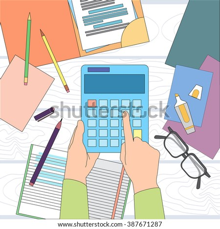 Calculator Business Man Hand Office Desk Accountant Vector Illustration - stock vector