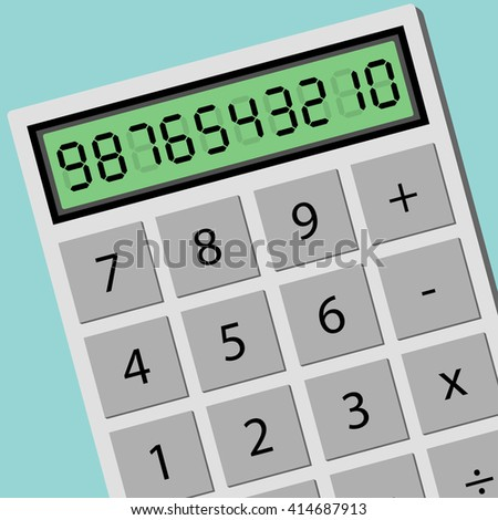 Calculator calculating machine in top view. Flat design business financial marketing banking concept cartoon illustration. - stock vector