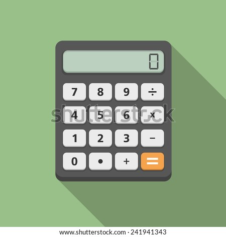Calculator, flat design, vector eps10 illustration - stock vector