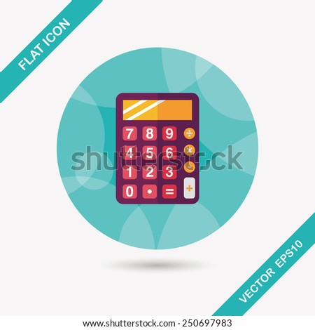 calculator flat icon with long shadow,eps10 - stock vector