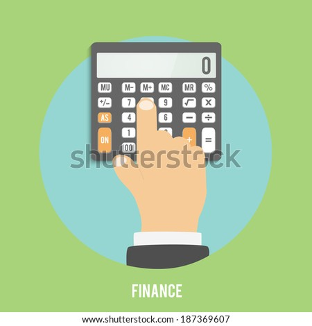 Calculator icon. Business concept businessman considers on the calculator - stock vector