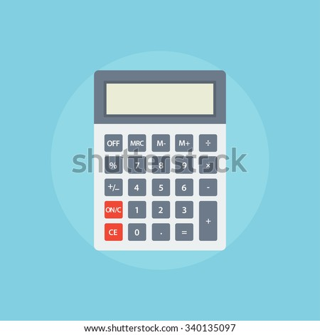 Calculator icon. Calculator flat illustration. Calculator isolated on a colored background. Icon simple white calculator. Vector electronic calculator. Concept icon accounting and calculation. - stock vector
