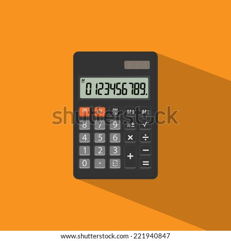 Calculator icon flat design with shadow - stock vector