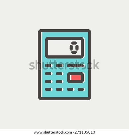 Calculator icon thin line for web and mobile, modern minimalistic flat design. Vector icon with dark grey outline and offset colour on light grey background. - stock vector