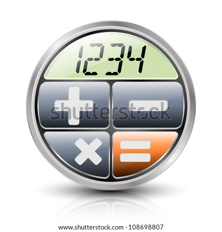 Calculator icon with reflection and shadow on a white background - stock vector