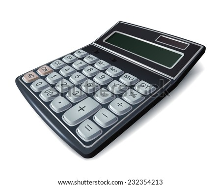 Calculator illustration with big buttons and tably, isolated - stock vector