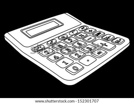 Calculator isolated on a black background with blank screen vector. - stock vector