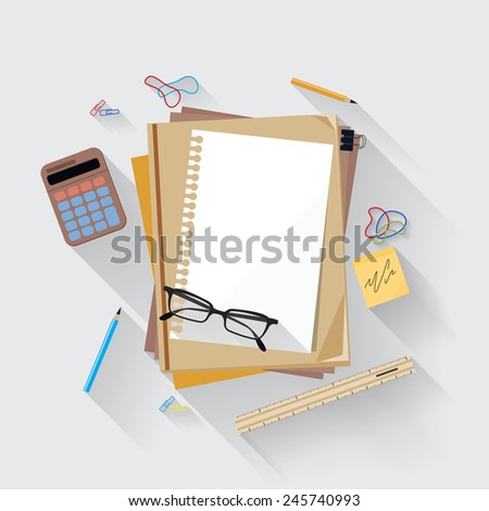Calculator, ruler and paper page icon on an office desk - stock vector