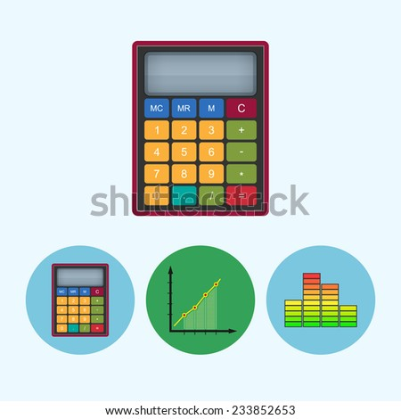 Calculator . Set from 3 round colorful icons, calculator, indicator icon, diagram icon, infographics, chart icon,  vector illustration - stock vector