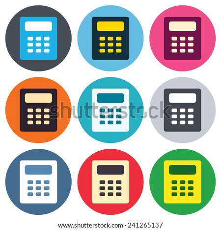 Calculator sign icon. Bookkeeping symbol. Colored round buttons. Flat design circle icons set. Vector - stock vector