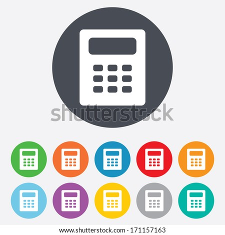 Calculator sign icon. Bookkeeping symbol. Round colourful 11 buttons. Vector - stock vector