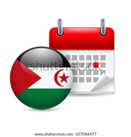 Calendar and round flag icon. National holiday in Sahrawi Arab Democratic Republic - stock vector