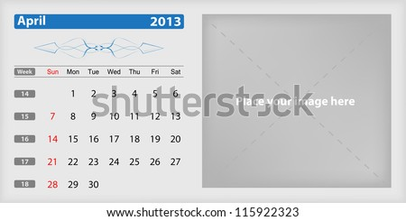 Calendar 2013 april - stock vector