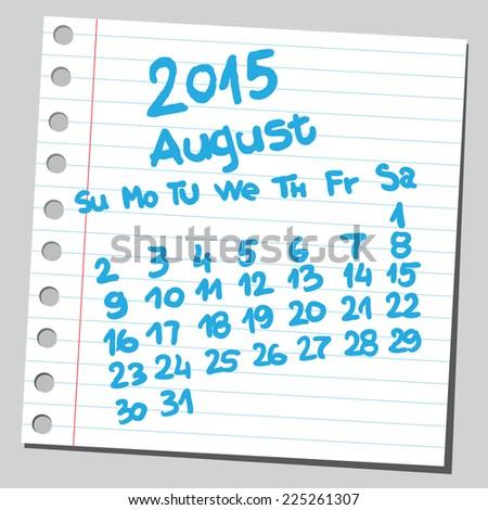 Calendar 2015 august (sketch style)  - stock vector