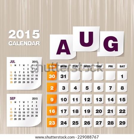 Calendar 2015 August vintage paper on grunge background  - stock vector