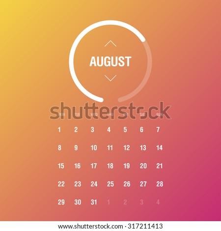 Calendar 2016. August. Week Starts Monday - stock vector