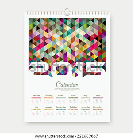Calendar 2015, colorful triangle geometric template design background, vector illustration - stock vector