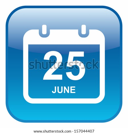 Calendar date (glossy rounded button, blue version) - stock vector