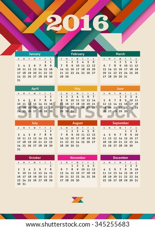 Calendar 2016, eps10 vector - stock vector