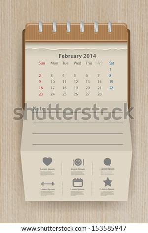 Calendar february 2014, Creative folded paper with business icon on wood texture background, workflow layout, diagram, step up options, web banner template, Vector illustration modern template design - stock vector