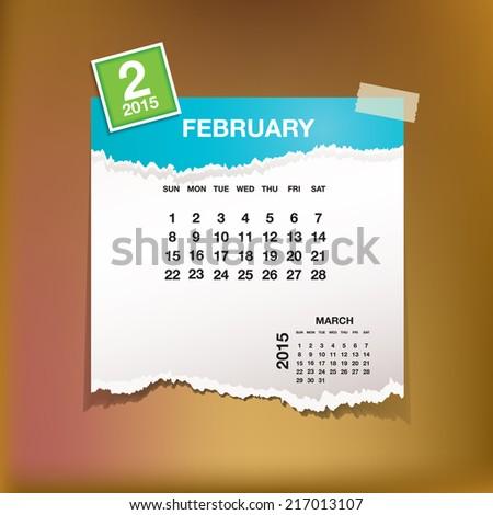 Calendar 2015 February vintage paper on grunge background  - stock vector