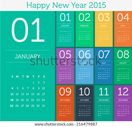 Calendar 2015 - flat design color - stock vector
