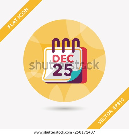 Calendar flat icon with long shadow eps10 - stock vector