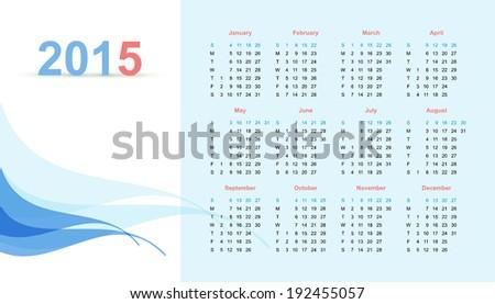 Calendar for 2015 - stock vector