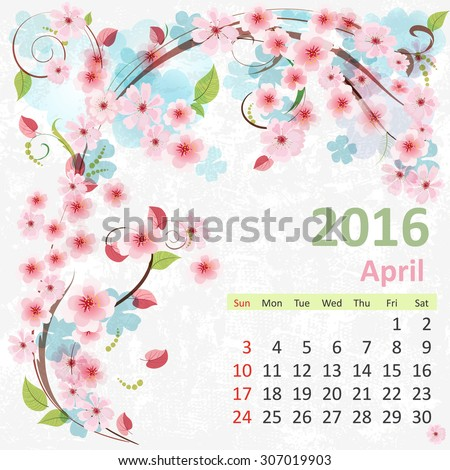 Calendar for 2016, April - stock vector
