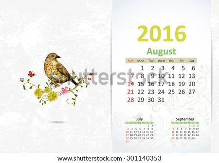 Calendar for 2016, August - stock vector