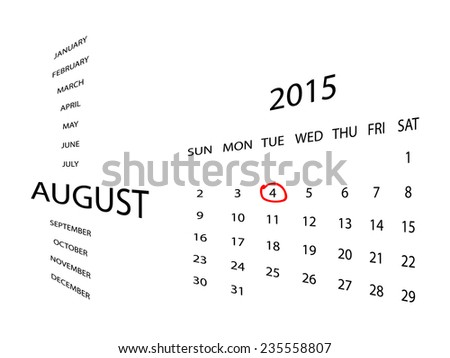 Calendar for August 2015, in perspective. Red marker circle for highlighting important dates. Simple illustration, isolated on white. - stock vector