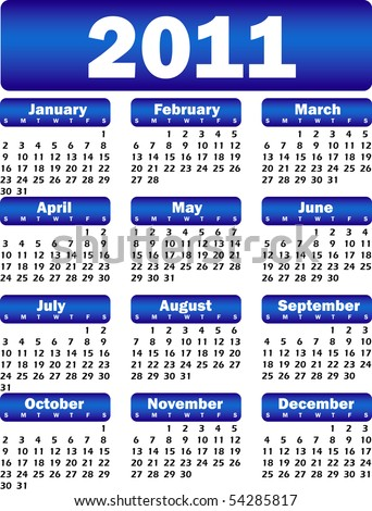 calendar for 2011 blue - stock vector