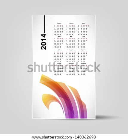 calendar for 2014, editable vector illustration - stock vector