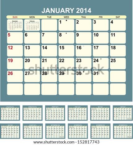 Calendar for 2014  in English - stock vector