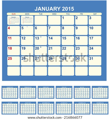 Calendar for 2015  in English - stock vector