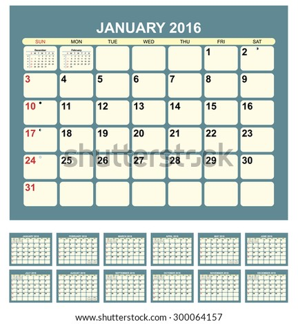 Calendar for 2016  in English - stock vector