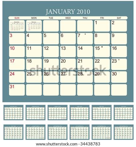 Calendar for 2010 in English - stock vector