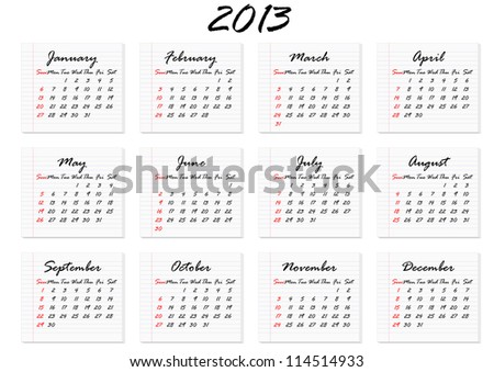 Calendar for 2013 in English; week starts with Sunday - stock vector