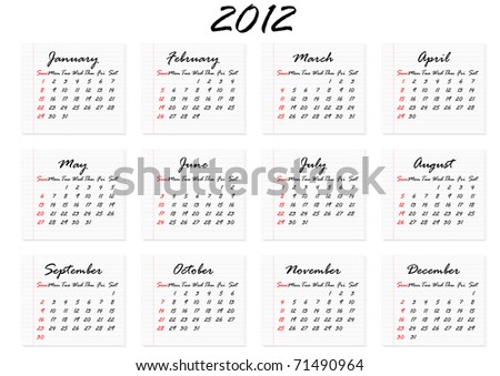 Calendar for 2012 in English; week starts with Sunday - stock vector