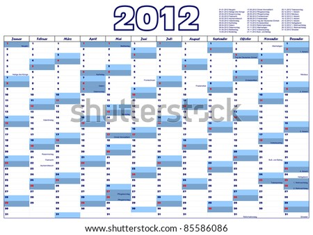 Calendar for 2012 in German with official holidays - stock vector