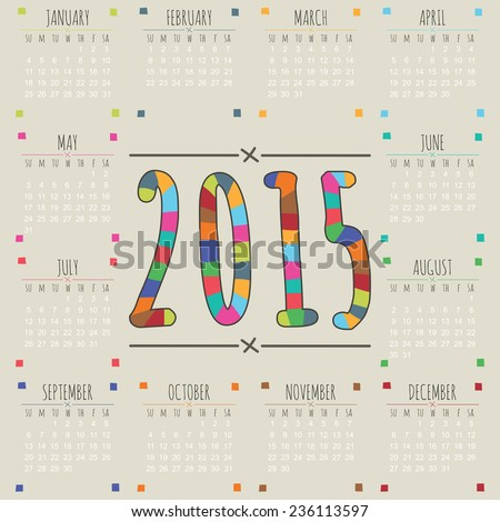 calendar for 2015 in hand drawn style with striped numbers - stock vector